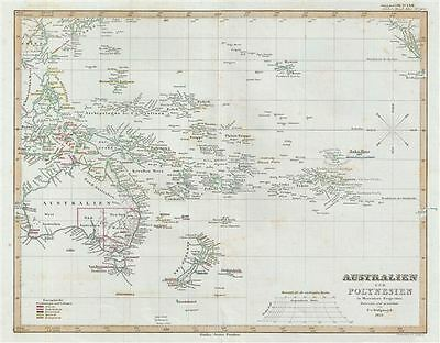 1853 Perthes Map of Australia and Polynesia in Mercator's Projection
