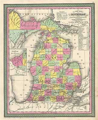 1854 Mitchell Map of Michigan