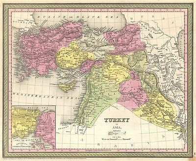 1854 Mitchell Map of Turkey, Syria, Iraq, and the Holy Land