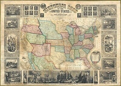 1855 Bridgman and Fanning Wall Map of the United States