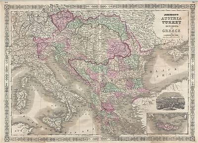1866 Johnson Map of Austria, Turkey and Greece