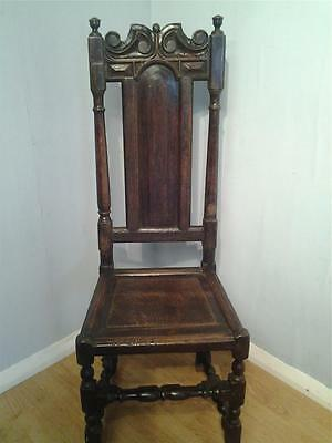 Genuine antique C17th Carolean  carved joined oak  hall chair