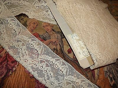 "2 yds Antique Vintage Alencon Net Flowers Edging Lace Trim 3"" wide 77"""