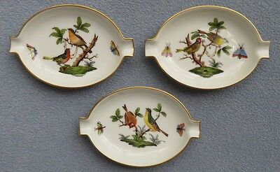 Set of 3 Herend Rothschild Bird Hand-Painted Ashtrays Insects Birds Mint!