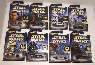 Hot Wheels STAR WARS Series * 2015 Complete 8 Car Set * Limted Edition