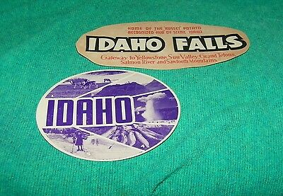 Vintage Original old travel advertising decal from IDAHO and CONOCO Service