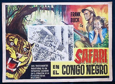FRANK BUCK Tiger Fangs AFRICA CONGO SAFARO Lobby Card 1943 JUNE DEPREZ