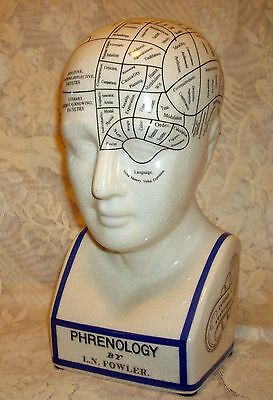 "Large PORCELAIN PHRENOLOGY HEAD BUST 12"" High ~ L.N. FOWLER PSYCHOLOGY ~"