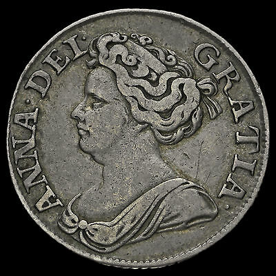 1711 Queen Anne Early Milled Silver Shilling, Fourth Bust