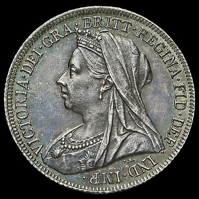 1900 Queen Victoria Veiled Head Silver Shilling, G/EF