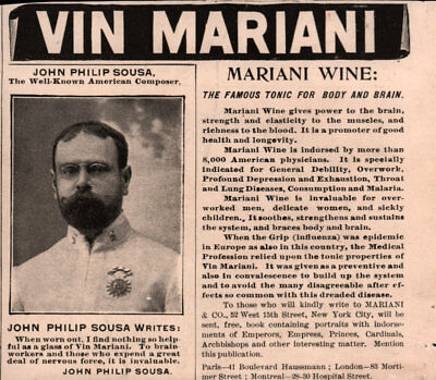 1896 A Ad Vin Mariani French Tonic Emile Zola Quote