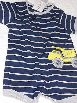 Carter's Baby Boys Blue Striped Short Sleeve Romper 100% Cotton Spring 3-12m