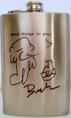 """CHARLES BUKOWSKI: """"good things to you,"""" Engraved 8 oz. Stainless Steel Hip Flask"""
