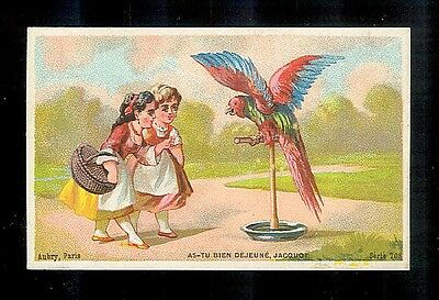 Girls With Parrot & Other Pet Birds-2 Victorian Trade Cards