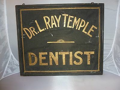 Antique Doctor l. Ray temple Dentist Trade  Sign
