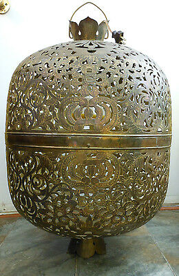 One-of-a-Kind Cut Work Engraved Brass Lotus Flower Chinese China Chandelier