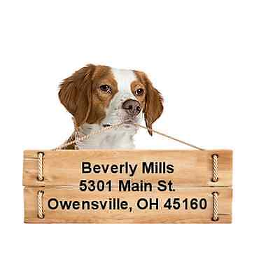 Brittany return address labels die cut to shape of dog and sign