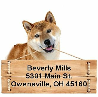 Shiba Inu return address labels die cut to shape of dog and sign