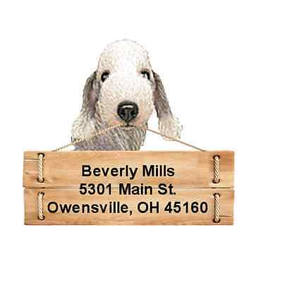 Bedlington Terrier return address labels DIE CUT TO SHAPE