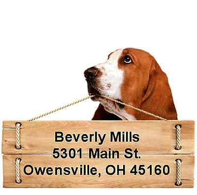 Basset Hound return address labels die cut to shape of dog and sign