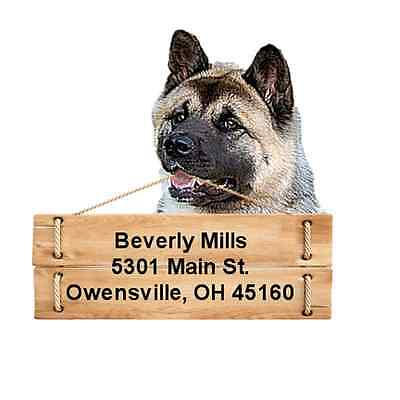 Akita return address labels die cut to shape of dog and sign