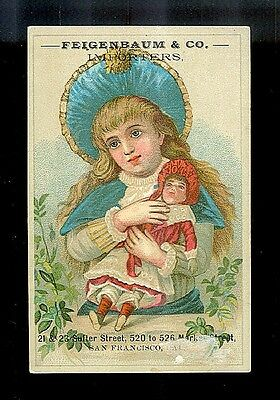Pretty Little Girl Loves Her Doll-Victorian Trade Card