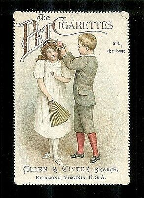 Boys Puts Flower In Girl's Hair-Rare 1880s Victorian Trade Card-PET CIGARETTES