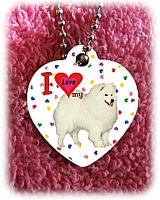 """American Eskimo Dog heart necklace 24"""" chain background of hearts"""