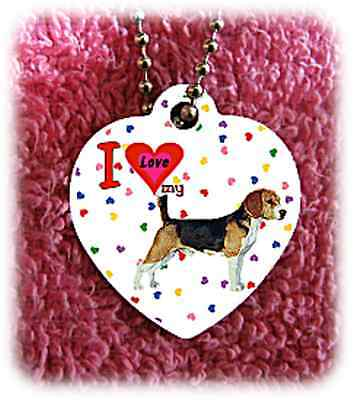 "Beagle Hound heart necklace 24"" chain background of hearts"