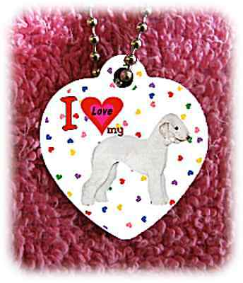 "Bedlington Terrier heart necklace 24"" chain background of hearts"