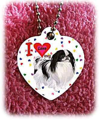 """Japanese Chin Dog heart necklace 24"""" chain background of hearts"""