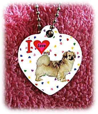 """Tibetan Spaniel Dog heart necklace 24"""" chain background of hearts"""