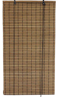 """2.5' x 6' 30"""" x 72"""" Brown Bamboo Slat Roll Up Blind Window Shade Privacy Screen"""