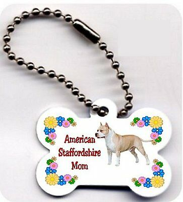 American Staffordshire Mom Dog Bone key ring chain
