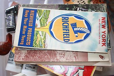 3 Vintage Richfield Maps from 1930's or 40's Vermont New England, NY & MA CT RI