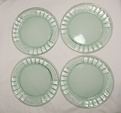"4 Coca Cola Plates Light Green Glass 7 3/8"" Embossed Salad Bread Dessert"