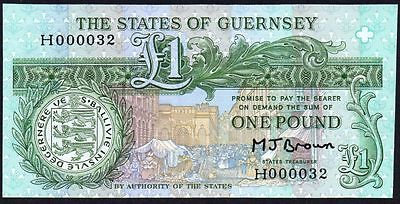 1980-89 Guernsey £1 Banknote * H 000032 * Low Number * Unc *