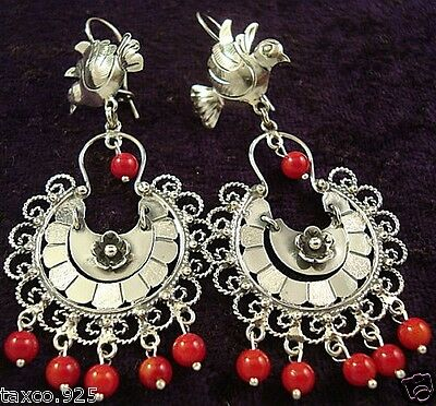 Frida Kahlo Style Taxco Mexican Sterling Silver Bird Coral Bead Earrings Mexico