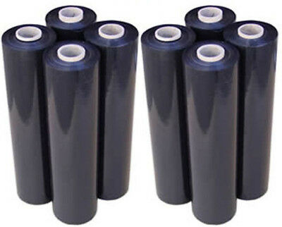 8 Rolls 500mm x 350m 20um Black Hand Stretch Film Pallet Wrap FREE POST 4 SYD!