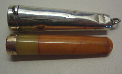 Chester 1907 silver cased 9ct gold and egg yoke color amber cigarette holder