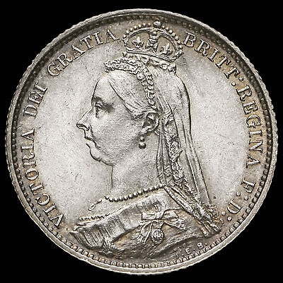 1887 Victoria Jubilee Head Silver Sixpence, R over I (R/I), Very Rare, GEF #3