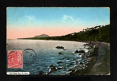 15538-ST.KITTS-NEVIS-OLD POSTCARD ST.KITTS.1916.One Penny.British.Road bay.