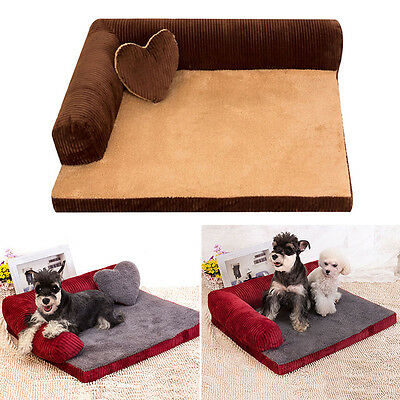 New Pet Bed Removable & Washable Corduroy Dog Sofa Cat Mat Pad Cushion W/Pillow