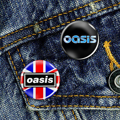 Oasis Brit Pop Button Badge 25mm, CHOICE OF 2