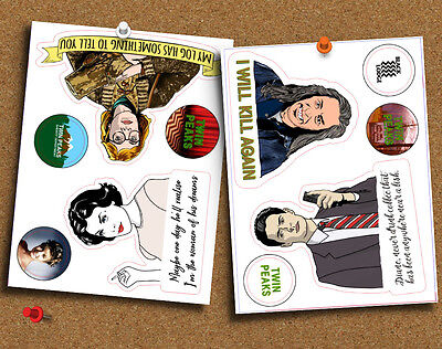 Twin Peaks Cult TV David Lynch Set of 11 Die Cut Gloss Stickers, for Planner etc