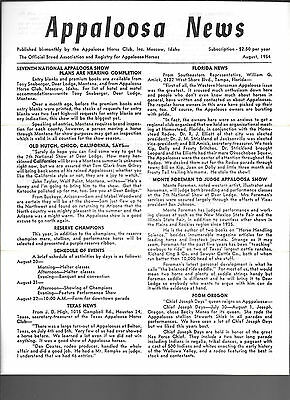 Appaloosa News August 1954 Official Breed Association Equine Horse Publication