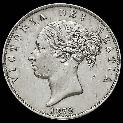 1879 Queen Victoria Young Head Silver Half Crown, Rare