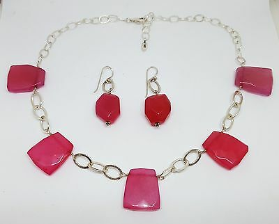 """Estate Barse Sterling Silver Pink Jade Necklace and Earrings ~ 19"""""""