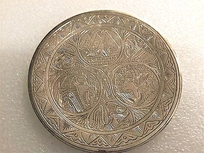 Egyptian 900 Silver Ornate Plate Hassan Silver Works-Egypt-With Hallmarks-110 Gm
