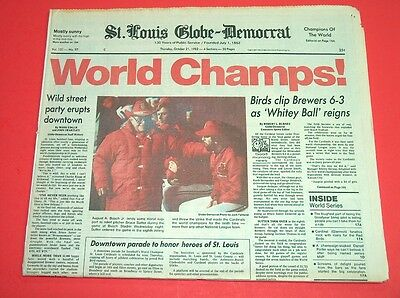 "Oct 21, 1982 St Louis Cardinals ""world Champs"" Globe-Democrat Newspaper *nice*"